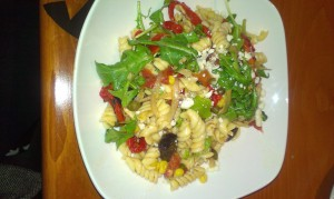 Pasta Salad with stout black pepper vinaigrette