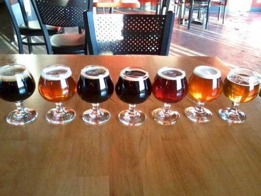 Sampler at Renegade (Hammer & Sickle at far left)