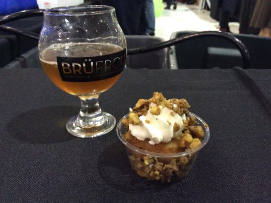 "Glazed and Confused's ""Da Killa' Carrot Cake"" donut, spiced and dressed with ginger infused cream topped toffee walnuts and Hazed and Infused dry hopped ale from Boulder Beer"