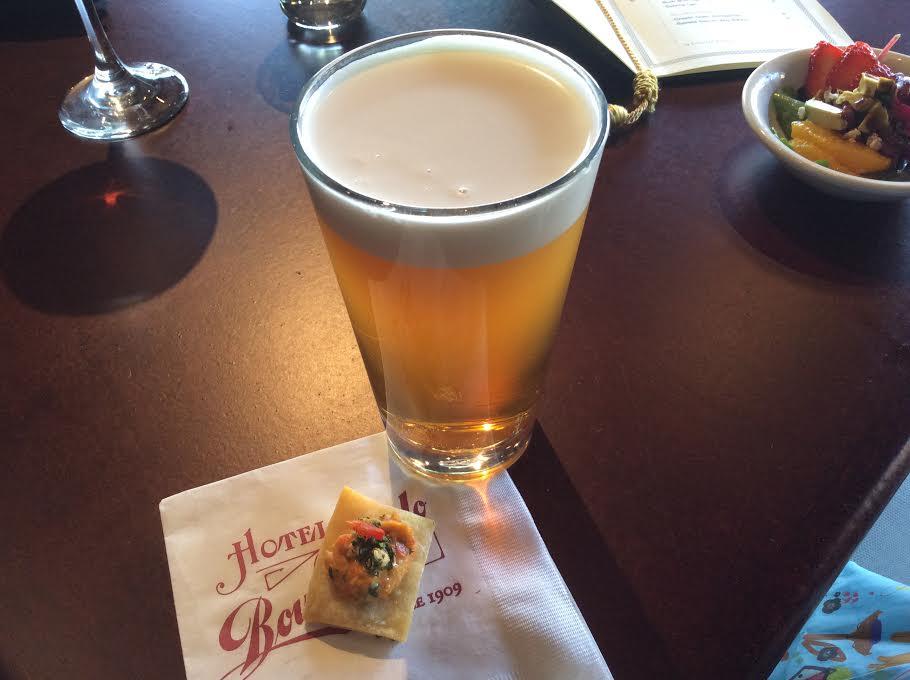 Boulder Beer's Nitro Mojo IPA and Red Pepper Hummus (Grilled Flatbread, Lemon Oil, Artichoke Gremolata)