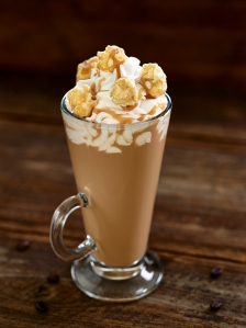 Salted Caramel Cafe: Tia Maria, Baileys, Monin Salted Caramel, half & half, topped with whipped cream, caramel corn and caramel sauce.