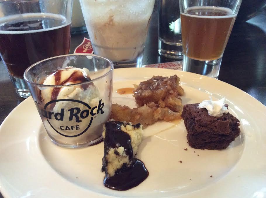 Samples of desserts: Fresh Apple Cobbler, Hot Fudge Brownie, Oreo Cheesecake
