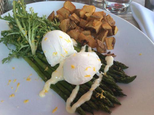 Grilled asparagus, two poached eggs, lardons, frisee, citrus aioli & mustard vinaigrette, home fries
