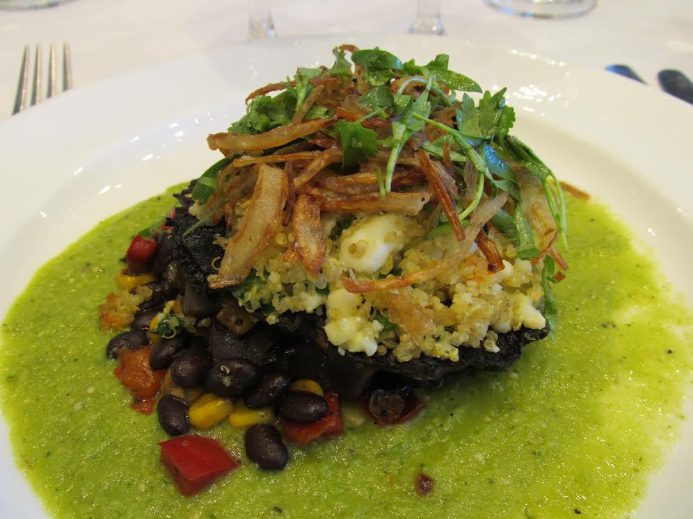 Vegetarian main course: Grilled Portobello stuffed with green chile quinoa & queso fresco, smoked tomatillo salsa verde and crispy shallot. Paired with Black Eagle Baltic Porter by Black Tooth Brewing and Old Tom Porter by Piney River Brewing.