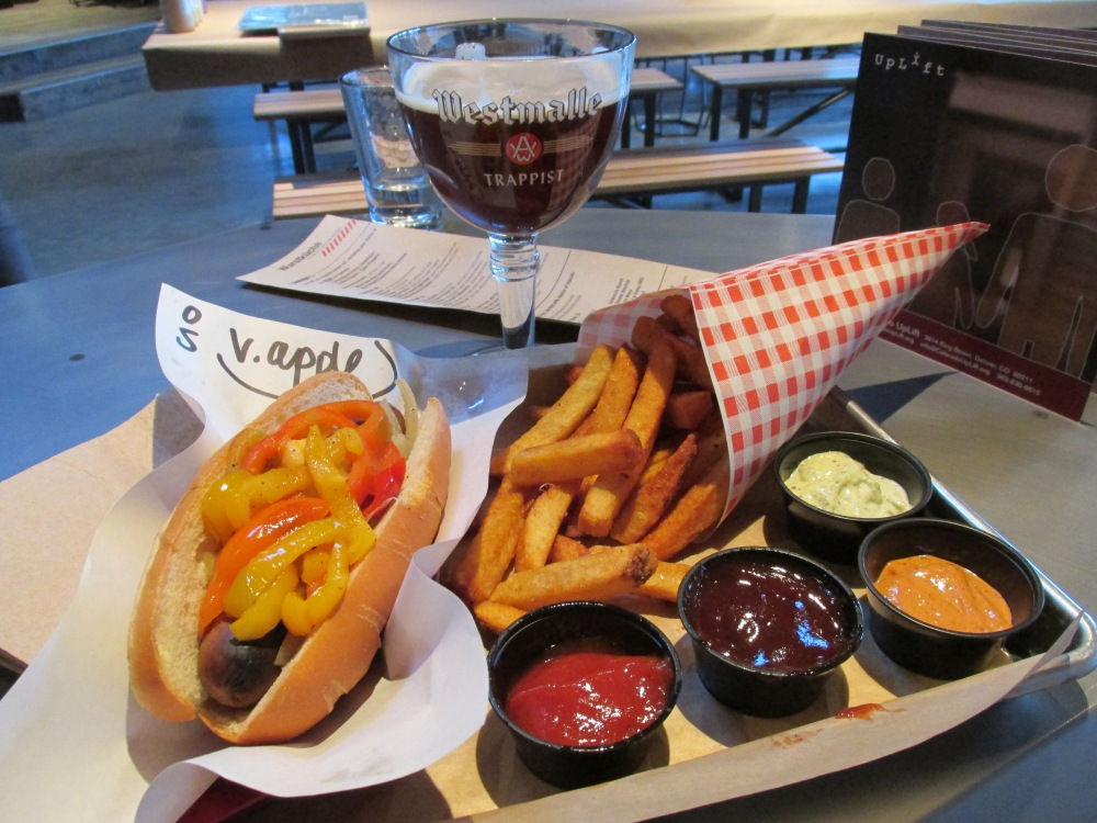 Vegetarian Smoked Apple Sage Sausage with caramelized onions & sweet peppers. Belgian Fries with dipping sauces: Curry Ketchup, Sweet & Sassy BBQ, Chipotle Aioli, and Pesto Mayo. The beer is a mixture of Westmalle's Dubbel and their Tripel.