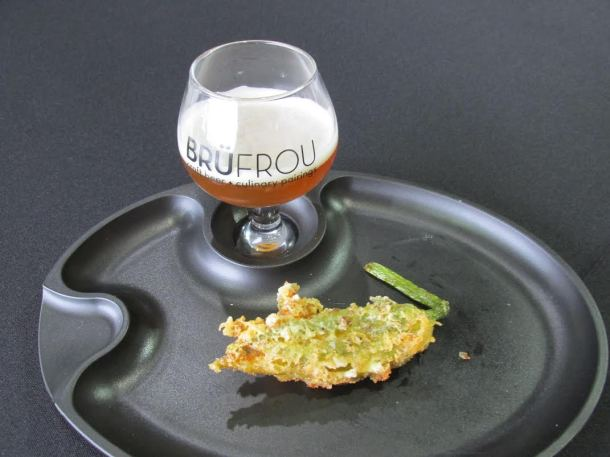Verboten's Thinking of Something Orange American Wheat Beer with orange blossom honey & orange peel paired with Fried Squash Blossom stuffed with green chile chevre finished with honey from Second Home Kitchen + Bar