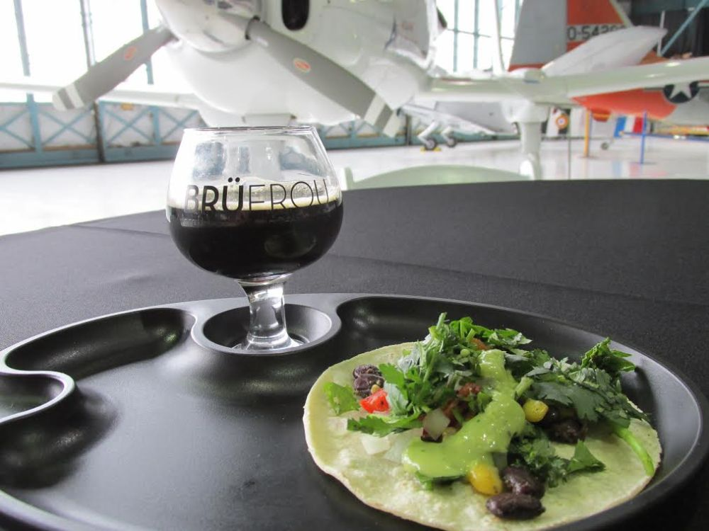 Dr. Wilkinson's Dry Irish-Style Stout from Horse & Dragon Brewing with a Kale Salad Taco from McDevitt Taco Supply