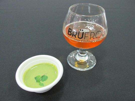 Insane Rush IPA from Bootstrap Brewing paired with Chilled Asparagus Soup with Micro Mint