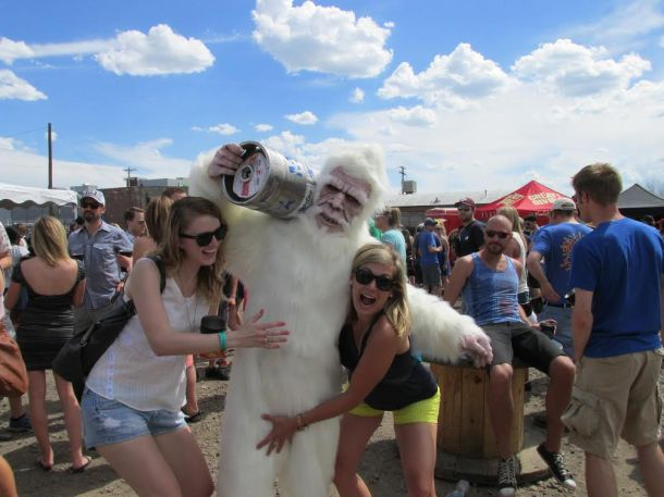 Partygoers with the ever-popular Yeti.