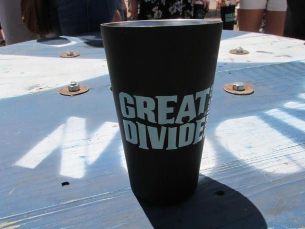 Reusable stainless steel pint glass. They even gave us lids for them upon exiting the party.