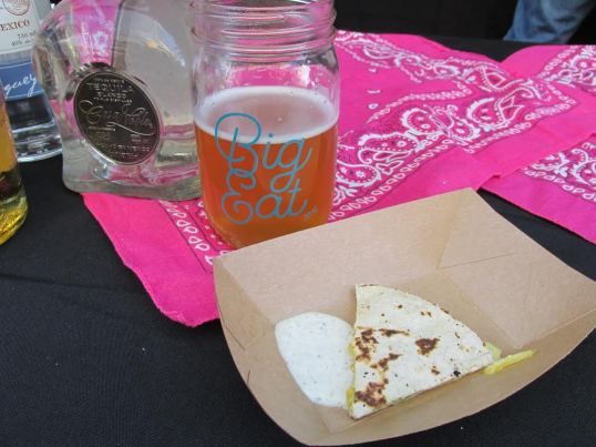 Goat cheese quesadilla with mango, pickled red onion, fresh jalapeno and green chile crema from El Camino Community Tavern. With Great Divide's 21st Anniversary American Sour Ale.