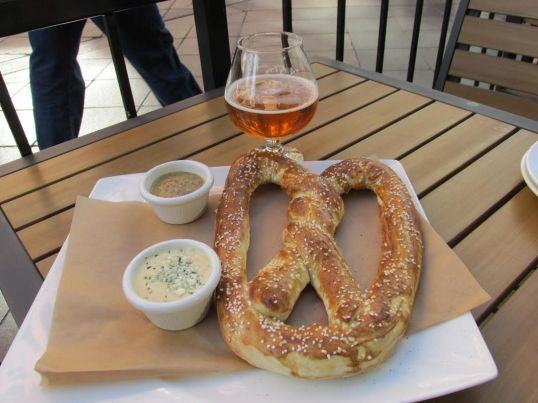 Twisted Giant Bavarian Soft Pretzel with Porter Mustard & Creamy Gorgonzola