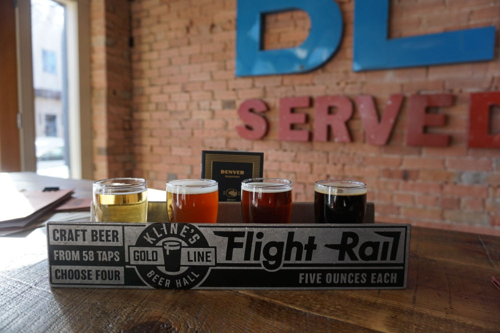 beer, craft beer, Kline's Beer Hall, beer flight, flight, Colorado